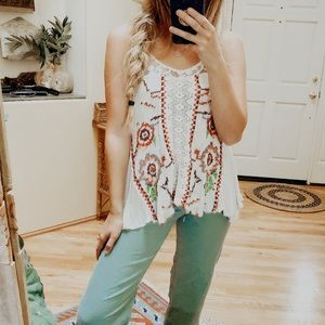 Free People Lace Embroidered Tank